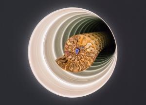 Cyprien Gaillard Ammonite Dub, 2015 Ammonite, record needle Copyright Cyprien Gaillard Courtesy Sprüth Magers installation view, Cyprien Gaillard: