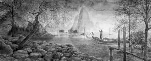 Hans Op de Beeck The Lake, 2014 Wasserfarbe auf Arches Papier 136 x 280 cm Sammlung Wemhöner
