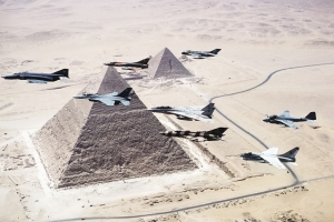 © Thomas Galler, Air force over the Great Pyramids of Giza, 2010 From the series Bright Star — A collection of appropriated images from the World Wide Web Printed and distributed as a series of postcards in Cairo, 2010 by Thomas Galler Courtesy the artist