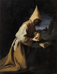 Francisco de Zurbarán, Heiliger Franziskus in Meditation, ca. 1630-35, Öl auf Leinwand, 124,5 x 163,5 cm, Museum Kunstpalast, © Museum Kunstpalast – Horst Kolberg – ARTOTHEK