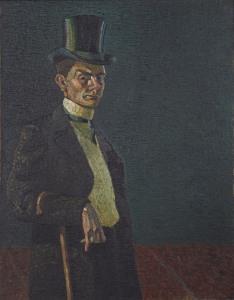 Wilhelm Morgner, Selbstbildnis IV (im Gehrock und Zylinder), 1910, Museum Wilhelm Morgner Foto: Thomas Drebusch