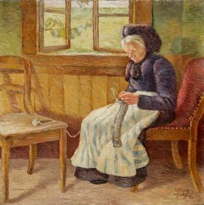 Wilhelm Morgner, Strickende weißhaarige Frau, 1909, LWL-MKuK Foto: Sabine Ahlbrand- Dornseif