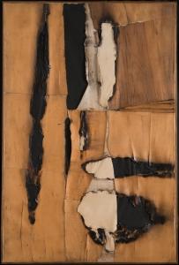 Alberto Burri, Combustione legno, 1957, Holzfurnier, Papier, Verbrennung, Acryl und Vinavil auf Leinwand, 149.5 x 99 cm, Privatsammlung, Courtesy Galleria dello Scudo, Verona, © Fondazione Palazzo Albizzini Collezione Burri, Città di Castello/ VG Bild-Kunst, Bonn 2016