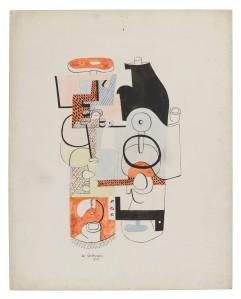 Le Corbusier, Étude pour 'Verres et bouteilles (avec vermillon)', 1928, Bleistift, Aquarell und Gouache auf Papier, © VG Bild-Kunst, Bonn 2016/Fondation Le Corbusier