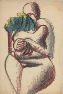 Le Corbusier, Femme debout, mains croisées sous la poitrine, ohne Datum, Bleistift und Pastellfarbe auf Papier © VG Bild-Kunst, Bonn 2016/Fondation Le Corbusier