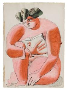 Le Corbusier, Nu féminin lisant, 1932, kolorierte Zeichnung, © VG Bild-Kunst, Bonn 2016/Fondation Le Corbusier