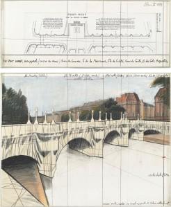 Christo__The_Pont-Neuf_Wrapped__Project_for_Paris___Collage_1981_in_zwei_Teilen__Bleistift__Pastellkreide__Wachskreide__Stoff__Bindfaden_und_technische_Zeichnung__c__Christo