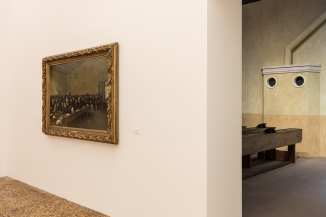 """View of the exhibition """"The Boat is Leaking. The Captain Lied."""" Fondazione Prada, Venice 13 May 2017 - 26 November 2017 Photo Delfino Sisto Legnani and Marco Cappelletti Courtesy Fondazione Prada On the left: Angelo Morbelli Giorni...ultimi! (Last...Days!), 1882-83"""