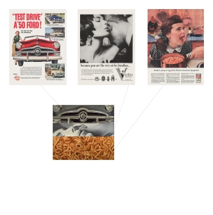 Anzeige für Ford im Life-Magazin, 24. April 1950, S. 8 Anzeige für Veto im Life-Magazin, 14. Januar 1957, S. 3 Anzeige für Franco-American Spaghetti im Life-Magazin, 6. Dezember 1954, S. 208 James Rosenquist I Love You with My Ford (Ich liebe Dich mit meinem Ford), 1961 Öl auf Leinwand 210,2 × 237,5 cm Moderna Museet, Stockholm Art: © Estate of James Rosenquist/VG Bild-Kunst, Bonn 2017