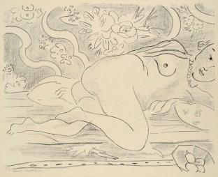 Henri Matisse, Nu couché à la coupe de fruits, 1926, Lithografie, © Succession H