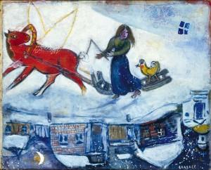 Marc_Chagall__Der_Schlitten_im_Schnee__1944__c__VG_Bild-Kunst__Bonn_2018