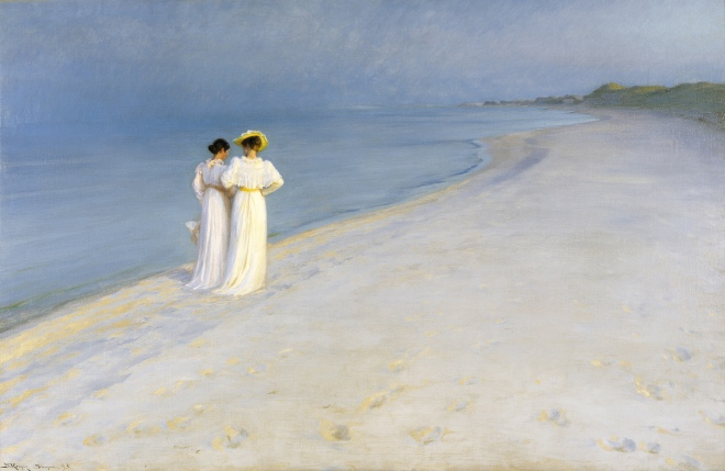 P.S._Krøyer_-_Summer_evening_on_Skagen's_Beach._Anna_Ancher_and_Marie_Krøyer_walking_together._-_Google_Art_Project